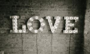 Large metal LOVE letters with lights, rent Kiev